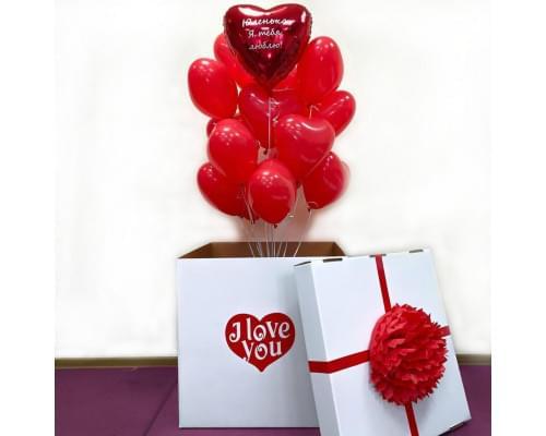 Коробка-сюрприз с латексными сердцами на 14 февраля