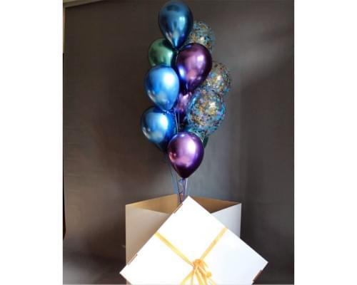 Коробка-сюрприз в синих цветах Новый Год