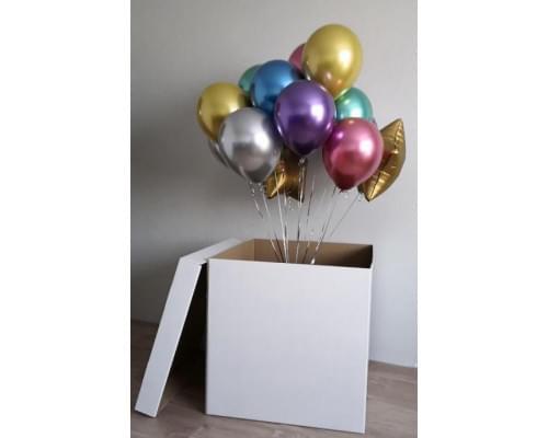 Коробка-сюрприз с воздушными шарами Хром