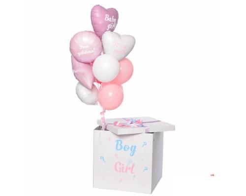 Коробка с розовыми шарами для девочки