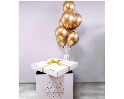 Коробка с шарами Золотой Хром