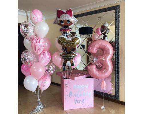 Коробка-сюрприз в розовых тонах с куклами LOL