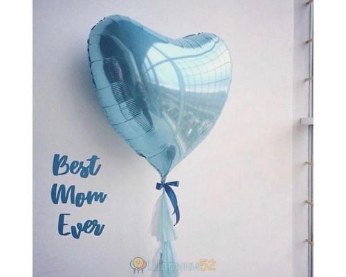 Большой фольгированный шар Нежное Сердце голубое