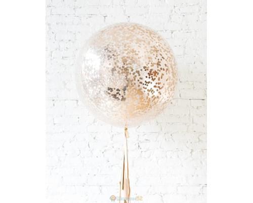 Большой шар с квадратным конфетти розовое золото на гирлянде