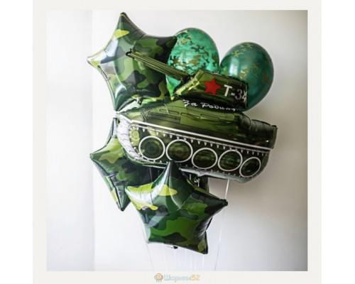 Букет из шариков на 23 февраля с фигурой Камуфляж