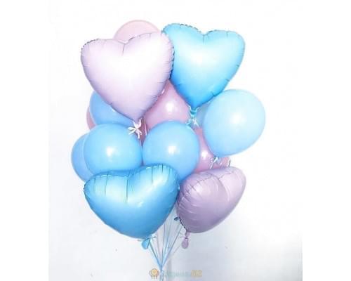 Букет из шаров «Розово-голубые сердечки»