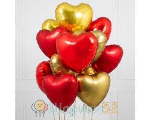 Букет из шаров красно-золотых сердц