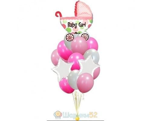 Букет из шаров на выписку из роддома для девочки