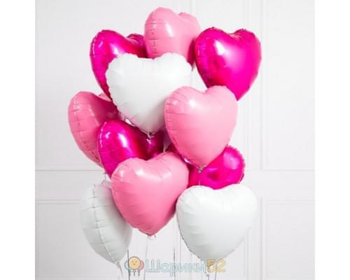 Букет из шаров розово-белых сердц