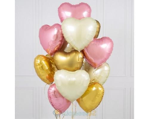 Букет из шаров розово-золотые сердца