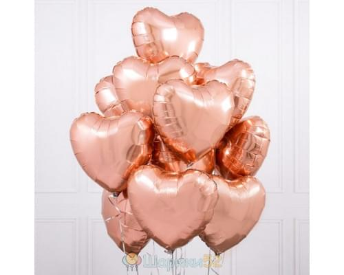 Букет из шаров розовое-золото сердца