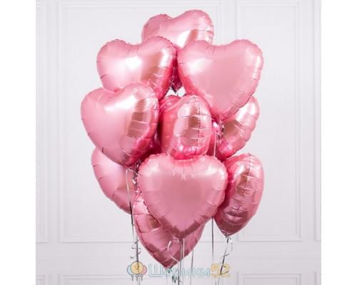 Букет из шаров розовые металлик сердца