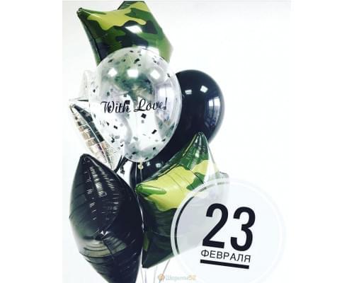 Букет из шаров С Днем защитника Отечества