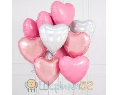 Букет из шаров сердца розово-белые