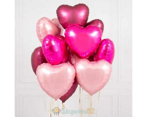 Букет из шаров сердца розовые