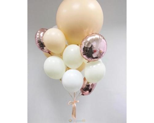 Букет из шаров Ваниль и Розовое золото