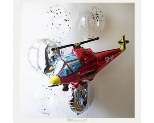Букет из шаров вертолёт красный