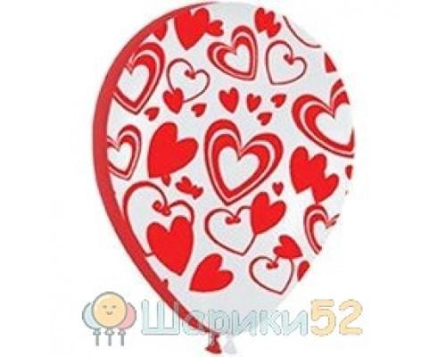 Облако красно-белых шаров Сердца 25 шт