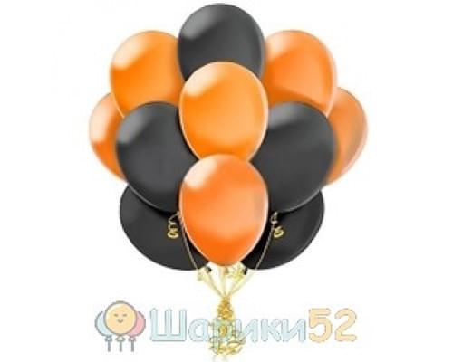 Облако шаров черно-оранжевые 15 шт