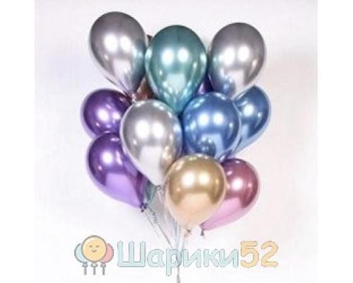 Облако шаров с гелием ассорти хром 15 шт