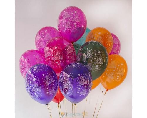Облако шаров с гелием С Днем рождения Кристалл 15 шт