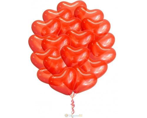 Облако шаров Сердца Премиум Большие 15 шт