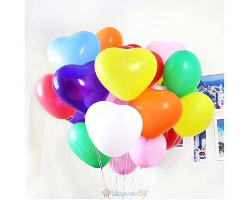Облако шаров Сердца Средние разноцветные 15 шт
