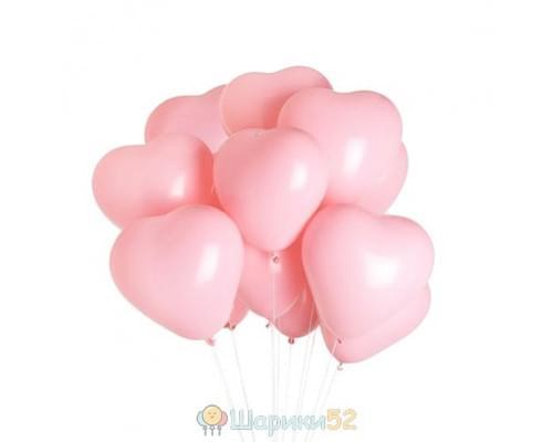 Облако шаров Сердца Средние розовые 15 шт