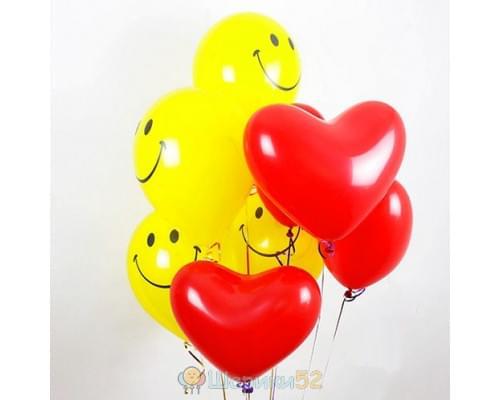 Облако шаров смайликов и сердечек 15 шт