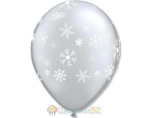 Облако шаров Снежинки Silver 25 шт