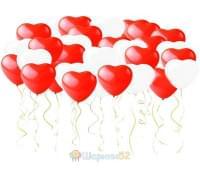 Сердца под потолок 50 шт(красный,розовый,белый)
