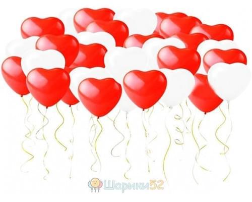 Сердца под потолок 100 шт(красный,розовый,белый)