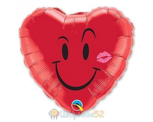 "Шар 18"" Улыбка сердце с поцелуем"