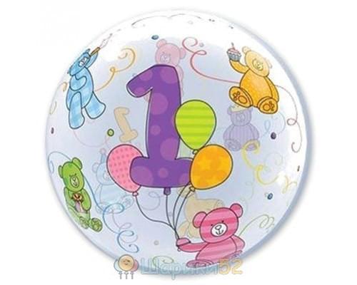 """Шар Bubble 22"""" 1 год"""