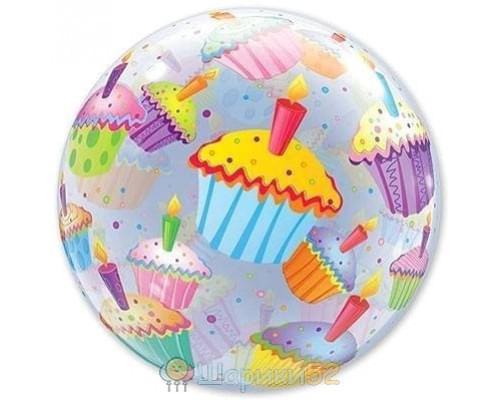 """Шар Bubble 22"""" Кексы разноцветные"""