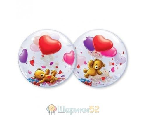 """Шар Bubble 22"""" Мишка плюшевый с шарами"""