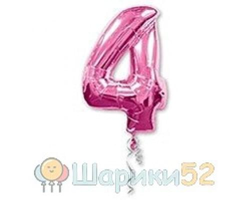 Шар фигура Цифра 4 Розовая