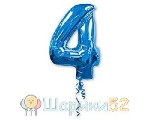 Шар фигура Цифра 4 Синяя