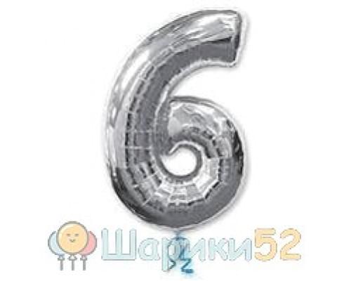 Шар фигура цифра 6 Silver