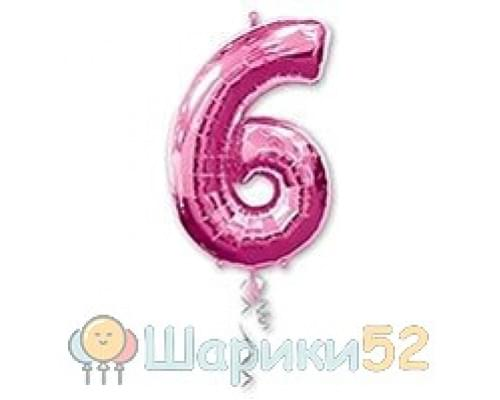 Шар фигура Цифра 6 Розовая