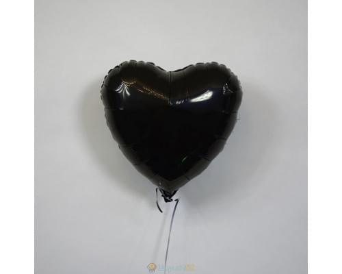 "Шар сердце 18"" металлик Черное"