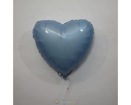 """Шар сердце 18"""" металлик Голубой"""
