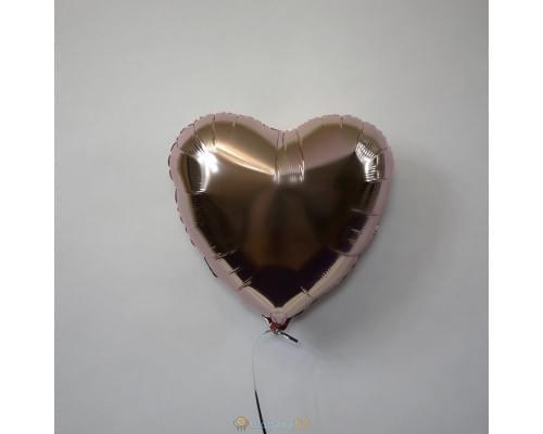 "Шар сердце 18"" металлик Розовое золото"