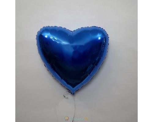 "Шар сердце 18"" металлик Синий"