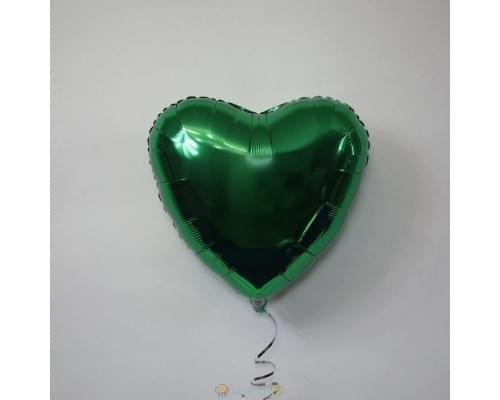 "Шар сердце 18"" металлик Темно Зеленый"