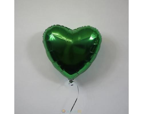 """Шар сердце 18"""" металлик Зеленое"""
