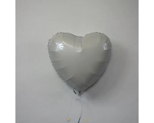 """Шар сердце 18"""" пастель Белое"""