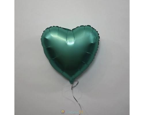 """Шар сердце 18"""" Сатин Jade"""