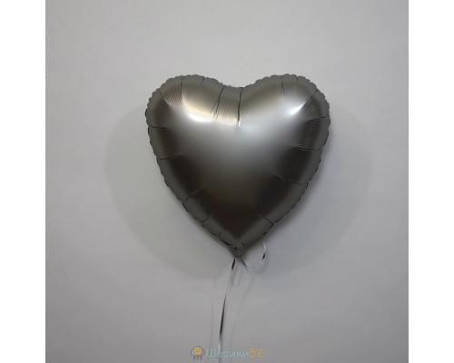 """Шар сердце 18"""" Сатин Platinum"""
