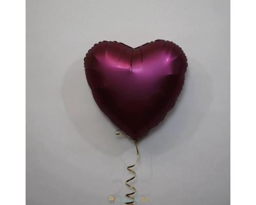"Шар сердце 18"" Сатин Pomegranate"